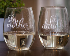 wine glasses mothers day like mother like daughter
