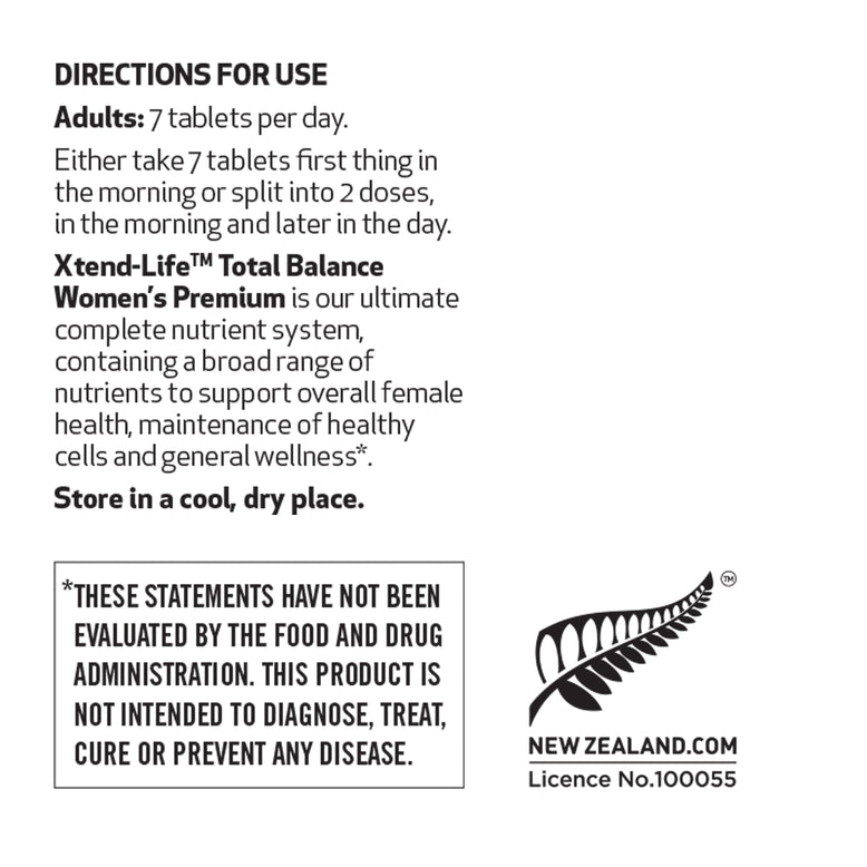 Buy our Total Balance Women's Premium online now in New Zealand - A comprehensive supplement containing 98 natural bio-active vitamins, minerals, nutrients, antioxidants & herbs to promote optimal health for women.