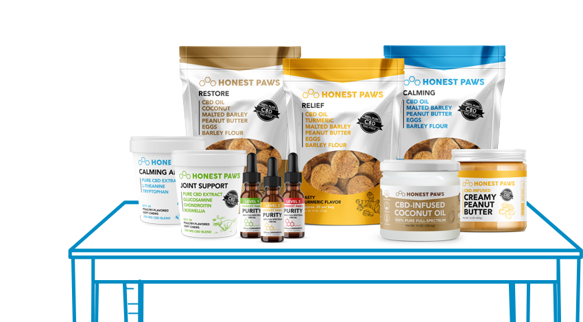 CBD Oil For Dogs and CBD Treats for Dogs on desk