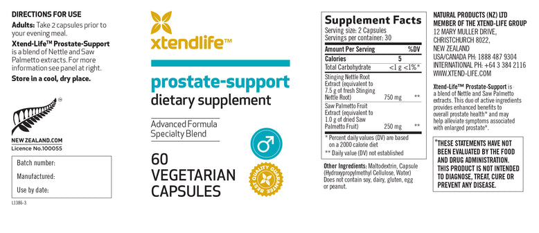 Buy our Prostate-Support online now in the United Kingdom - Combining a clinically proven duo of ingredients for overall prostate health & to reduce bathroom urges. A must for all men over 50.