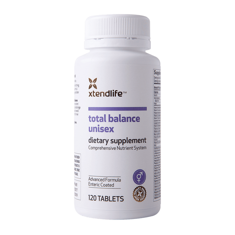 Buy our Total Balance Unisex online now in the United Kingdom - A comprehensive supplement containing 74 bio-active vitamins, minerals, nutrients, antioxidants and herbs to help support optimal health, immunity and wellbeing.