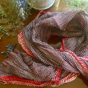 Handwoven Crinkled Silk Scarf - Burgundy/Red