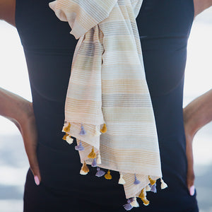 Handwoven Cotton Scarf with Pompoms