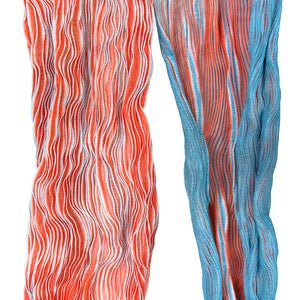 Hand Dyed Cotton Silk Blend Striped Scarves