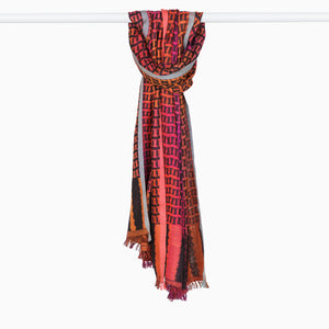 Handwoven Silk Stole Scarf - Pink/Orange/Charcoal with Light Blue and Coral Edges
