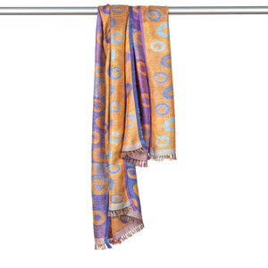 Hand Woven Silk Stole Scarf - Peach/Turquoise/Blue with Contrast Edges