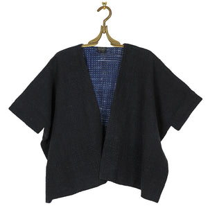 Woven Reversible Cotton Kimono Jacket with Painted Fabric Lining