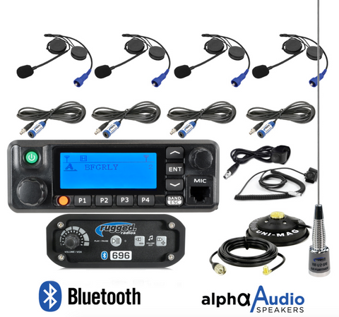 RRP696 4-Place Intercom with Digital Mobile Radio and Alpha Audio Helmet Kits