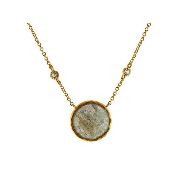Rounded Labradorite Stone Necklace