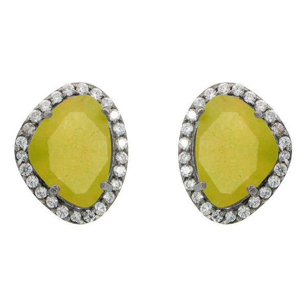 Sterling Silver Black Rhodium Plated Olive Jade & Cubic Zirconia Oval Stud Earrings