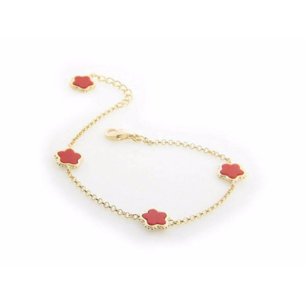 "Red Coral Flower Charms Bracelet in Gold Plating, 7"" + 1"" Extender"