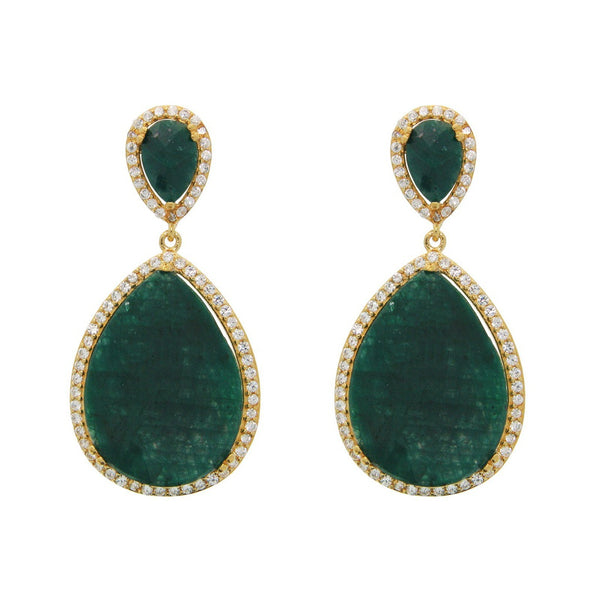 Gold Plated Sterling Silver Almond Drop Emerald Corundum Drop Earrings