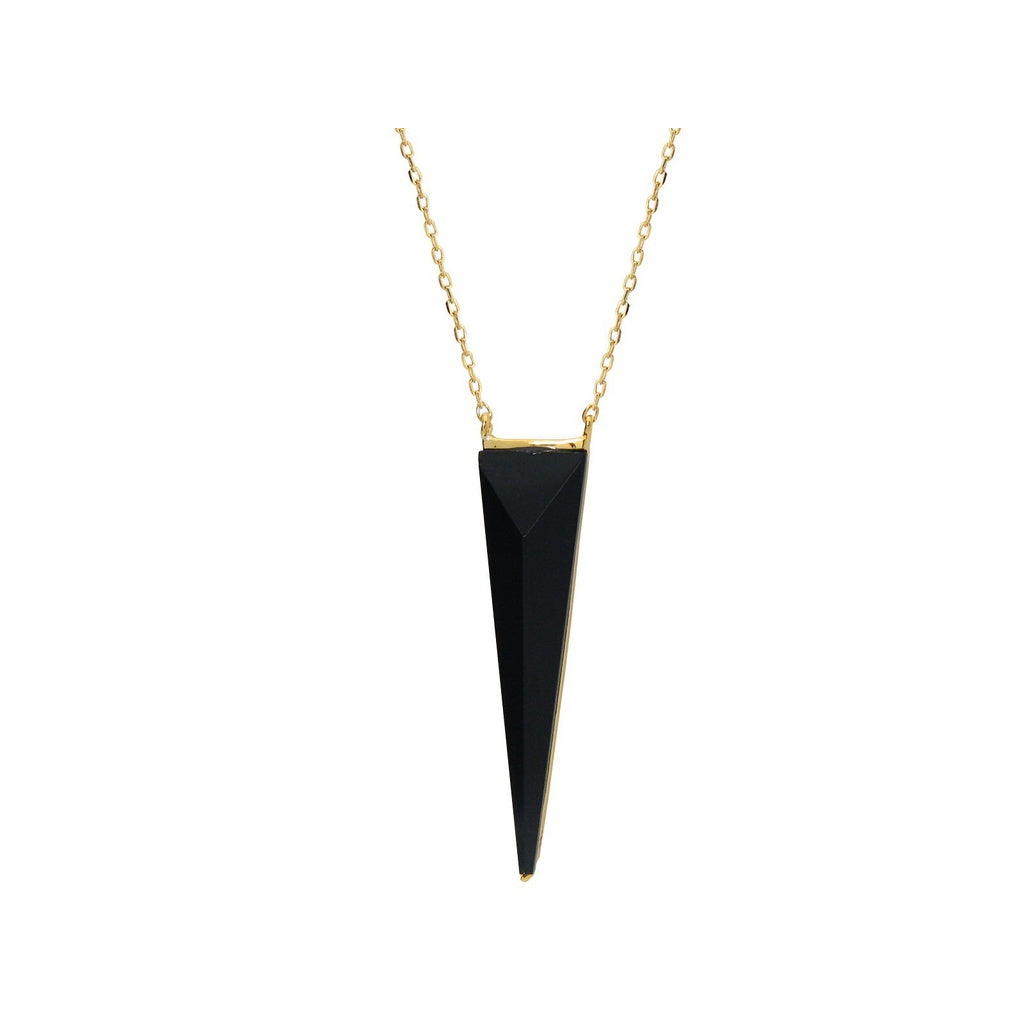 "Black Onyx Pyramid Pendant (1"") in Vermeil, 16"" + 2"