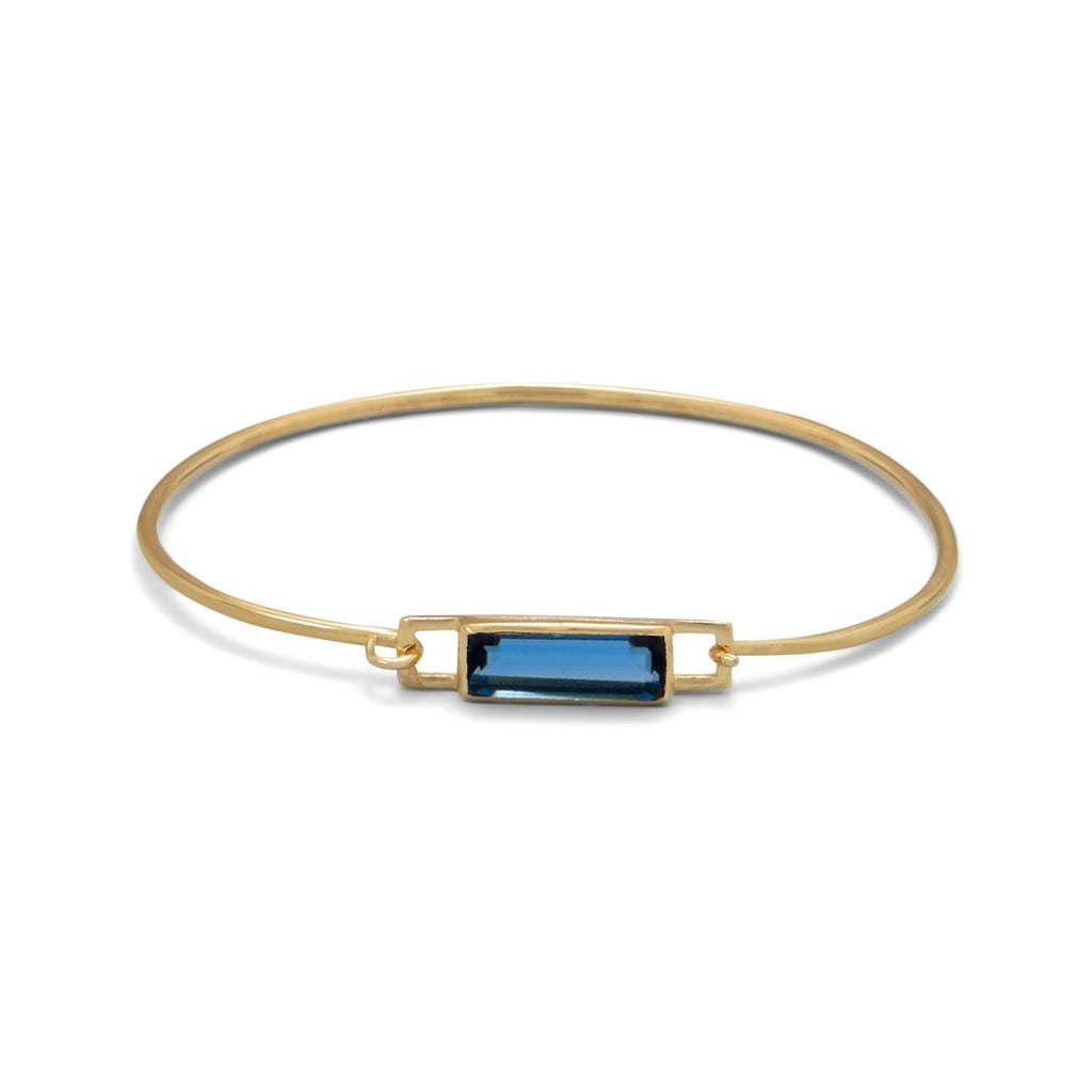 14 Karat Gold Plated Blue Hydro Glass Squeeze Release Bangle