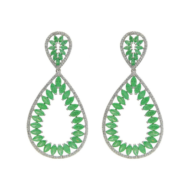 Sterling Silver Marquis Green Glass and Cz Statement Earrings