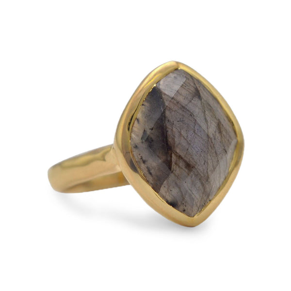 14 Karat Gold Plated Marquise Labradorite Ring