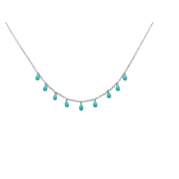 Mini Enamel Turquoise Stones Necklace in Sterling Silver | Fronay