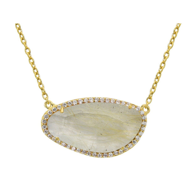 Gold Plated Sterling Silver Rutilated Quartz Slice Pendant Necklace, 16