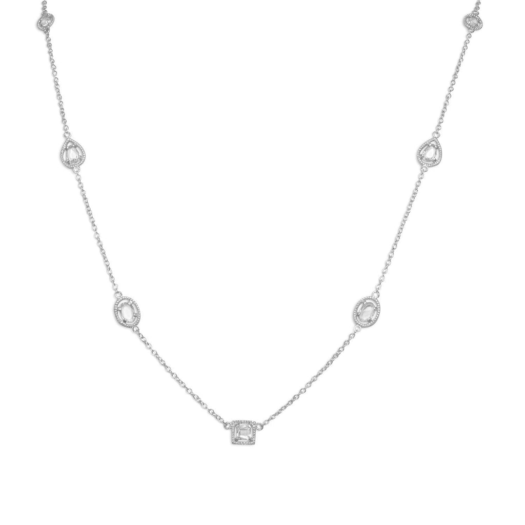 "36"" Rhodium Plated Multishape CZ Necklace"