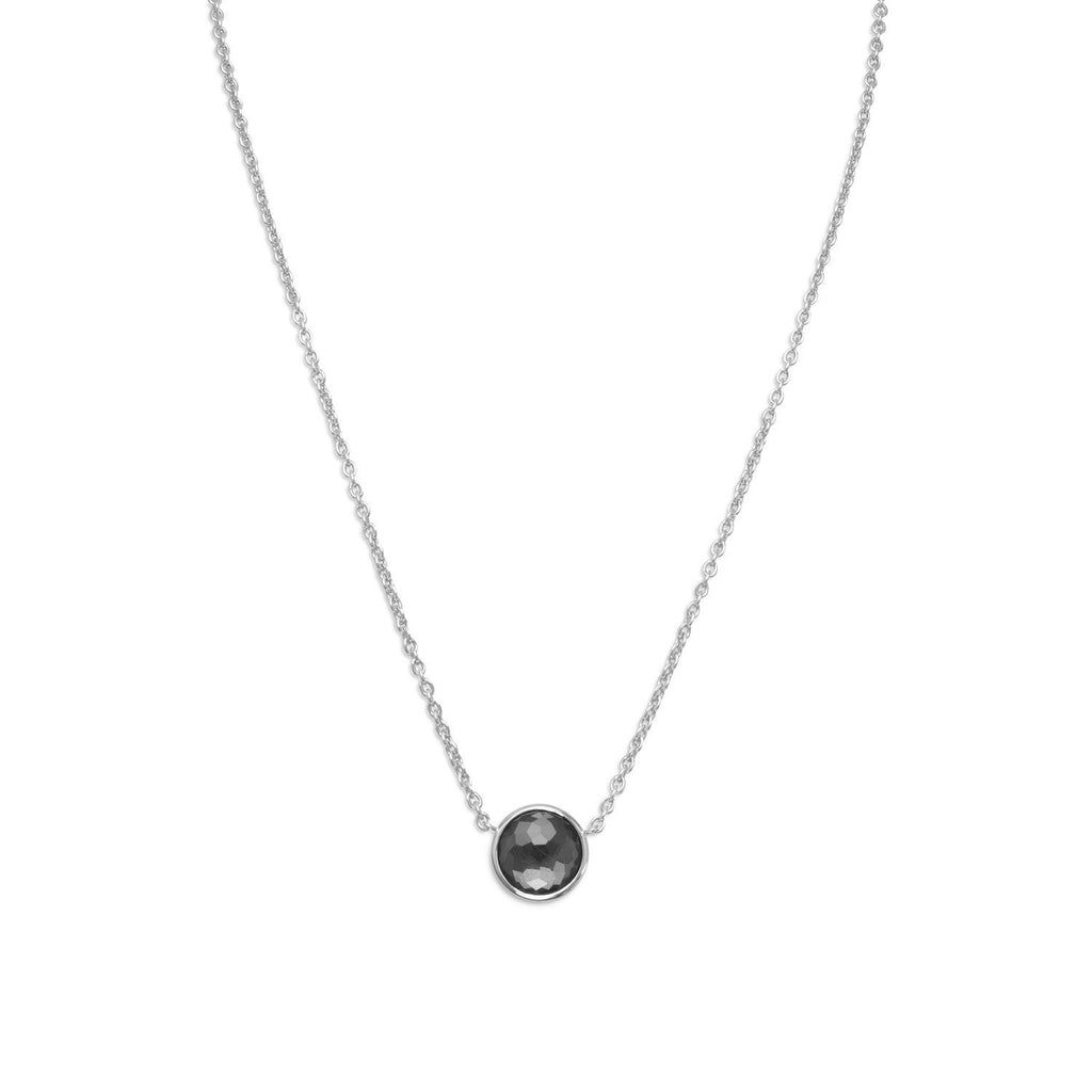 "16"" + 2"" Rhodium Plated Round Freeform Faceted Quartz over Hematite Necklace"