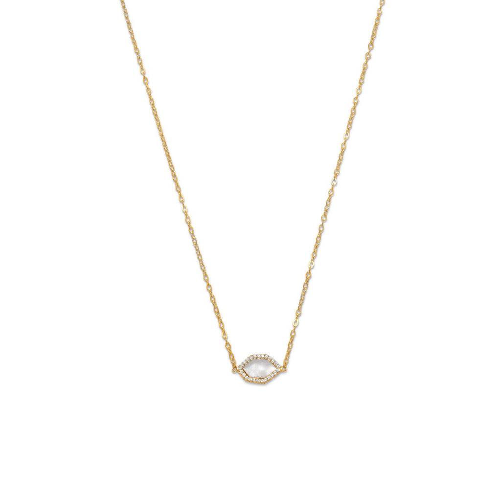14 Karat Gold Plated Mother of Pearl and CZ Halo Necklace