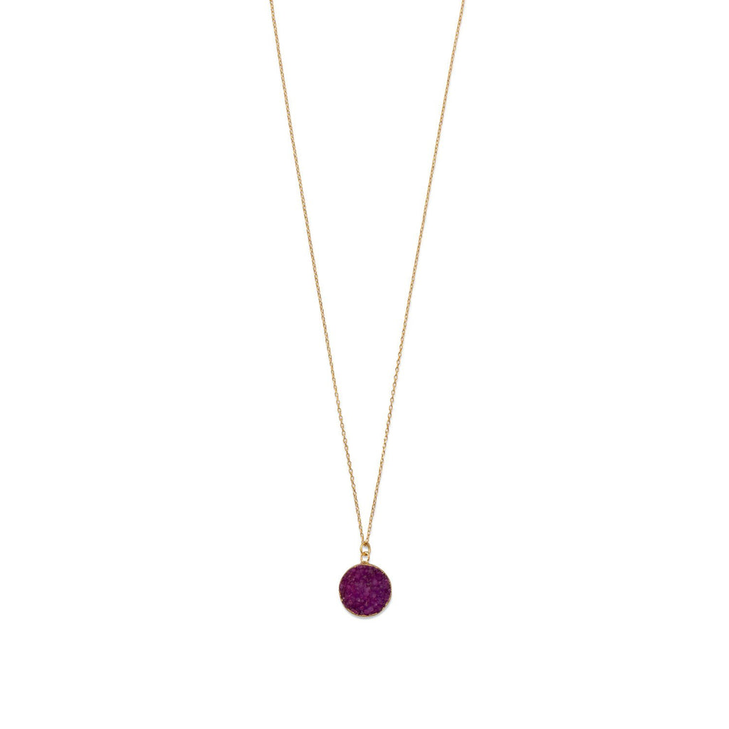 14 Karat Gold Plated Dyed Red Druzy Necklace