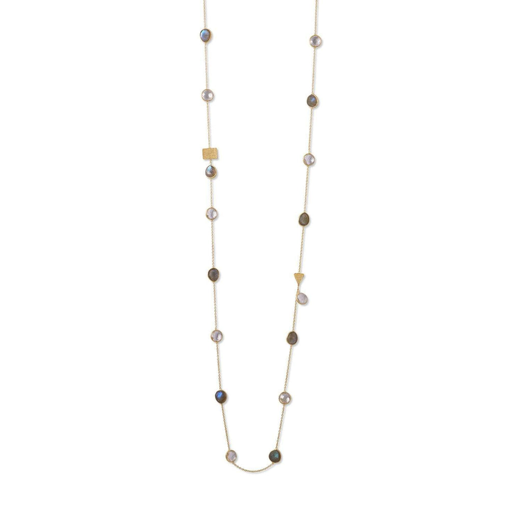 14 Karat Gold Plated Labradorite and Clear Quartz Endless Necklace