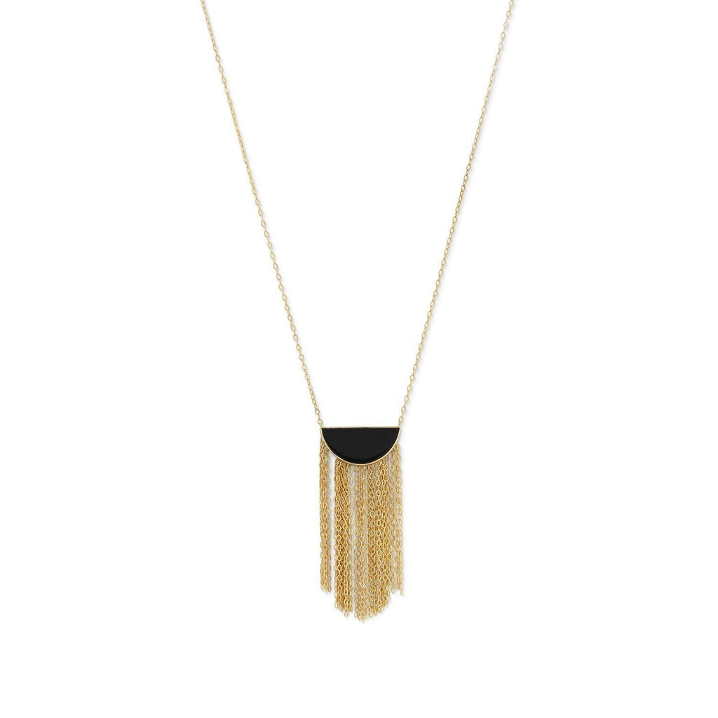 14 Karat Gold Plated Black Onyx and Fringe Necklace