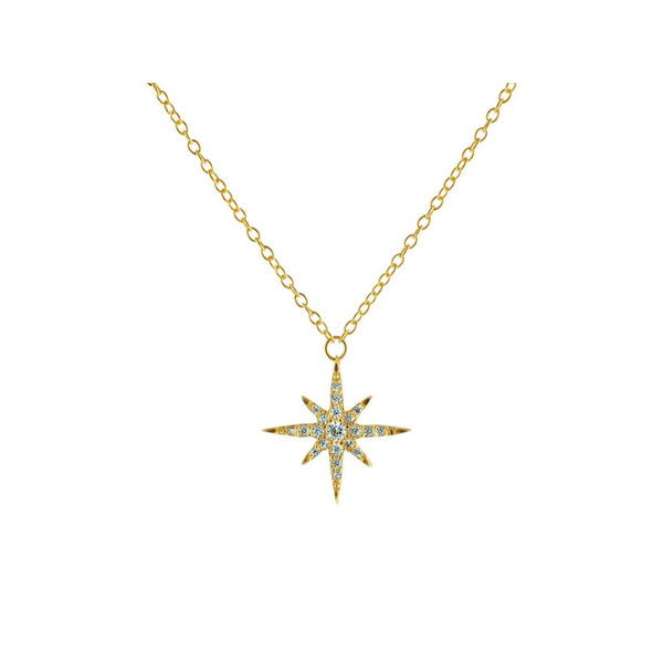 Small Golden Starburst Sun Pendant Necklace