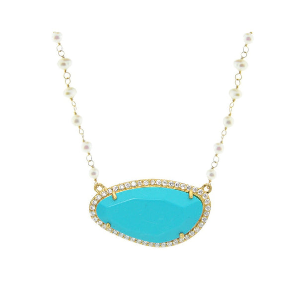 Turquoise Stone Slice & Mini Pearls Necklace in Sterling Silver