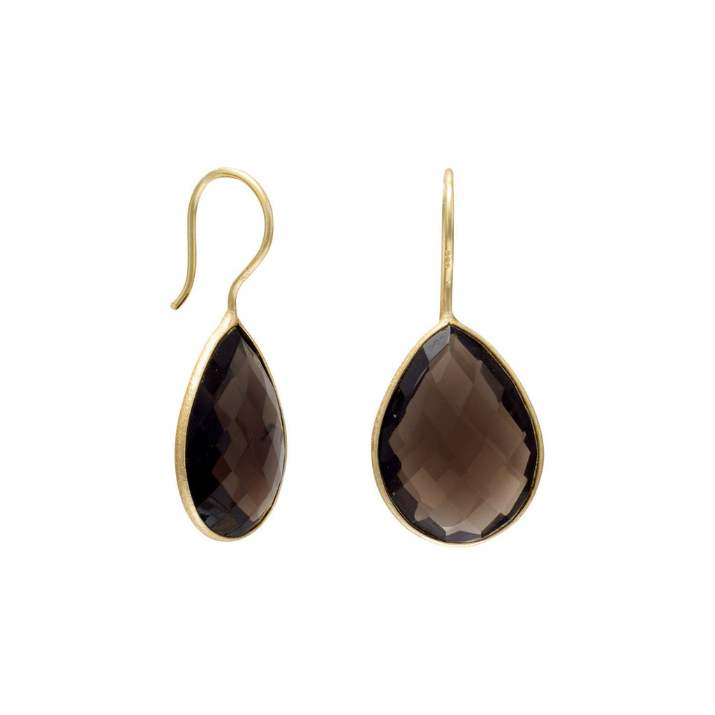 14 Karat Gold Plated Smoky Quartz Earrings
