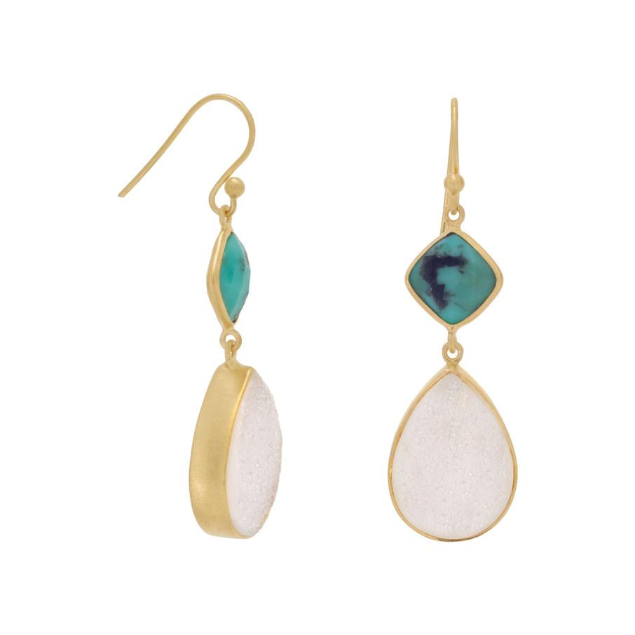 14K Gold Plated Earrings with Stabilized Turquoise and Druzy