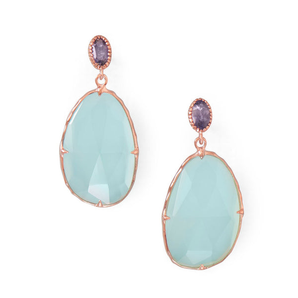 14 Karat Rose Gold Plated Chalcedony Drop Earrings