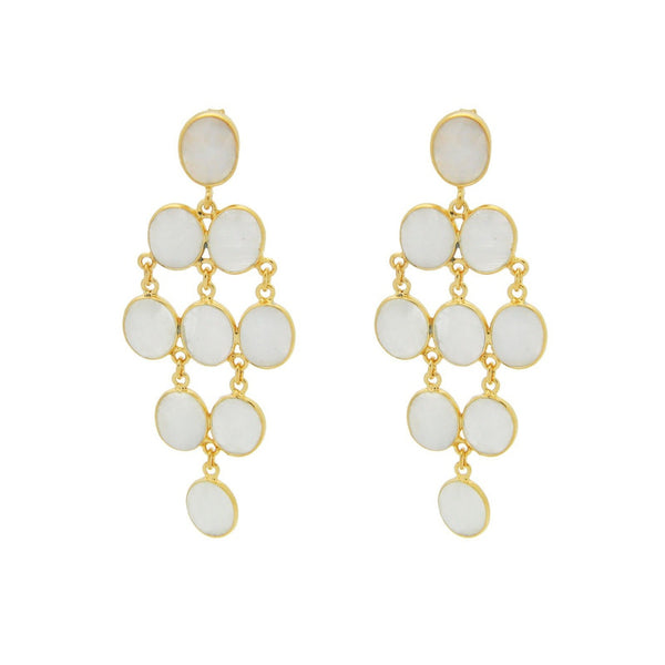 Moonstone Chandelier Sterling Silver Gold Plated Earrings