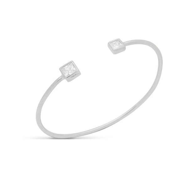 Open Wire Bangle Square Shape Cz Ends
