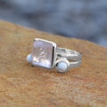 Freeform Faceted Square Rose Quartz Stackable Ring