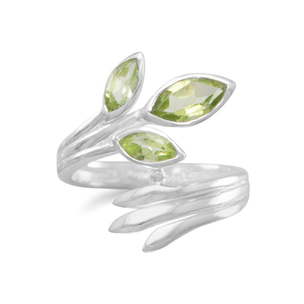 Fan Design Marquise Peridot Wrap Ring