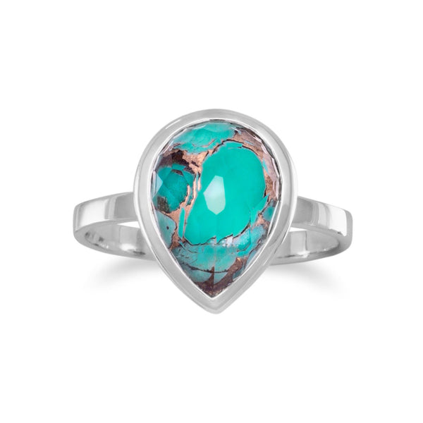 Large Pear Shape Freeform Faceted Quartz over Turquoise Stackable Ring