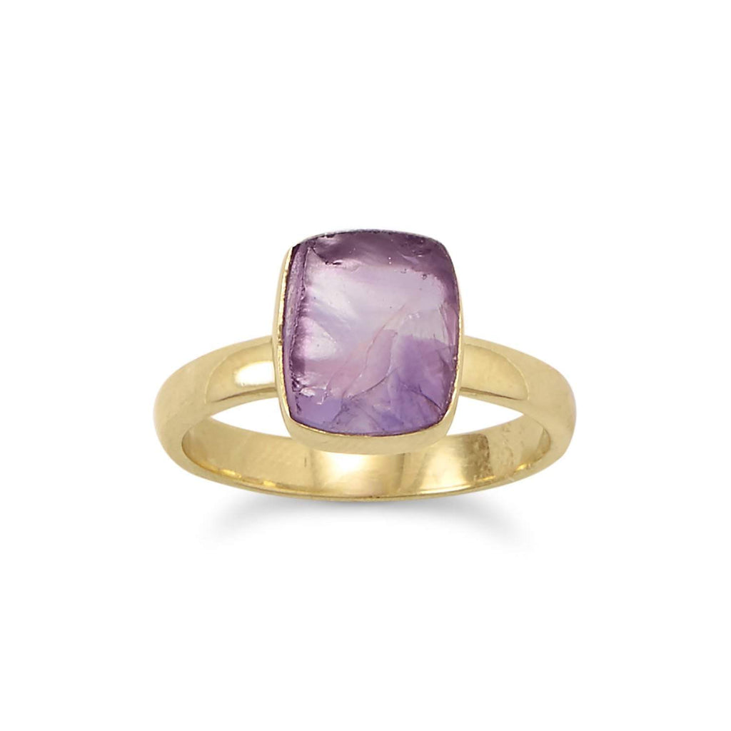 14 Karat Gold Plated Rough Cut Amethyst Ring