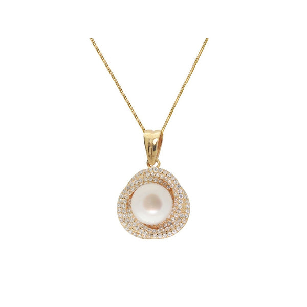 Classic 18k Gold Plated Silver Twisted Pearl & Pave Cubic Zirconia Necklace