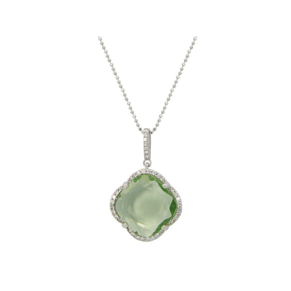 Women's Green Zirconia Clover Necklace in Rhodium Plated Sterling Silver, 16
