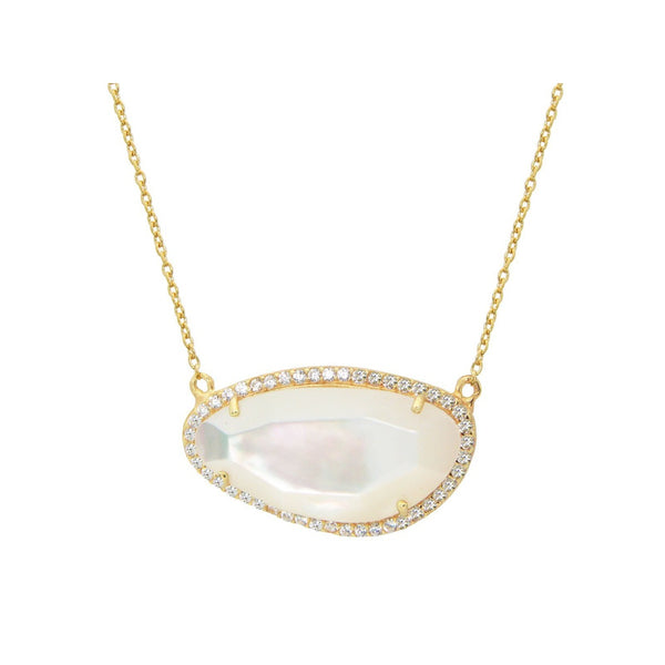 Gold Plated Sterling Silver Mother of Pearl Slice Pendant Necklace, 16