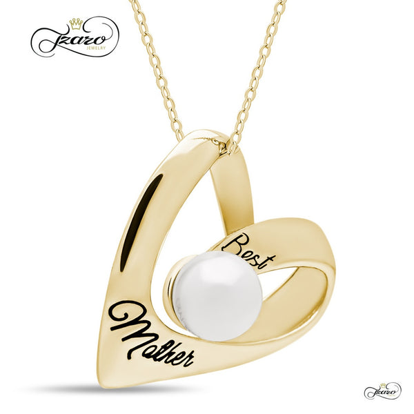 Elegant Mother Heart Necklace, 925 Silver, 14K Gold Plated Necklace for Mom