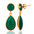 Green Onyx Faceted Gemstone Teardrop Earrings - Gold Plated Sterling Silver