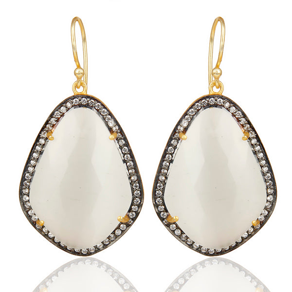 14K Gold Plated Sterling Silver Earrings with White Moonstone and CZ