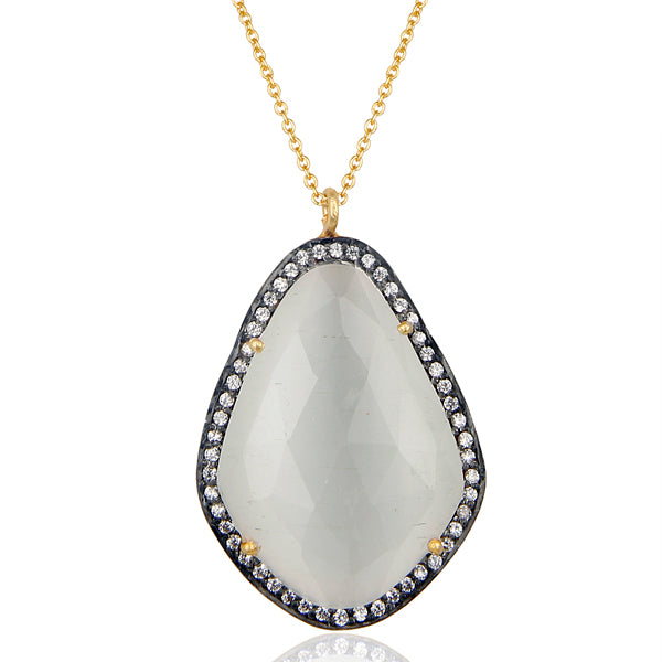 "14K Gold Plated Sterling Silver 16"" Necklace with White Moonstone and CZ"