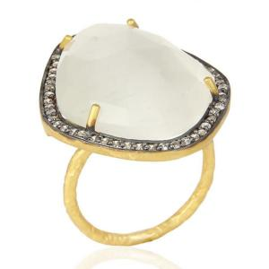 14K Gold Plated Sterling Silver Cocktail Ring with White Moonstone and CZ