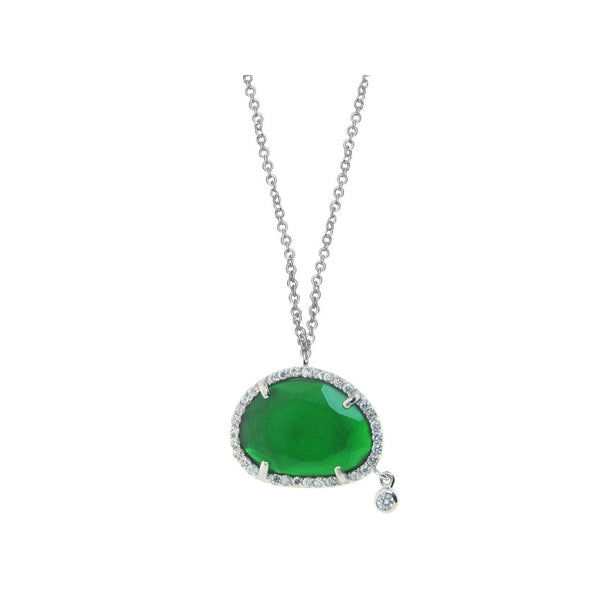 Silver Rhodium Plated Oval Free Form Green Slice Cz Necklace  Cz Circling