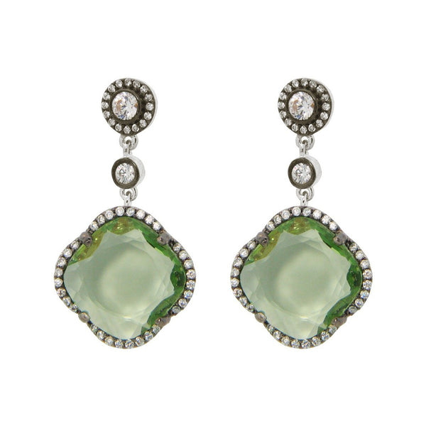 Women's Green Zirconia Stone Clover Dangle Earrings CZ Border Black Rhodium Flashed Sterling Silver