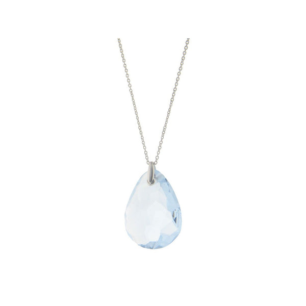 "Sterling Silver  1.5"" Pear Shape Aqua Faceted Crystal Pendant 24"" Chain"